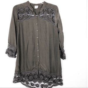 Free People | Intimately BOHO Brown Lace Tunic